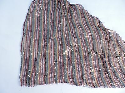 Antique 1920'S Colored Gold Lame Striped Fabric Fragment - Great For Cloche