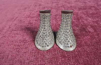 Flapper 1920'S Gold Sparkle High Heels For Shoes W Rhinestone Trims