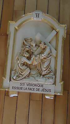 "Antique Religious  Plaster  Station Of The Cross Church  V1  24"" X 16"""