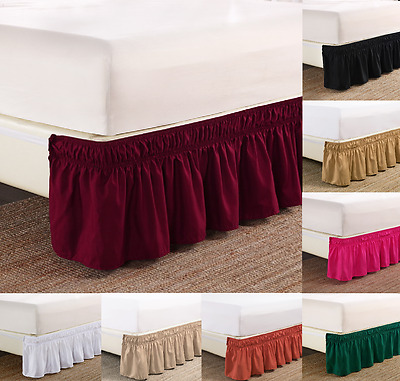 "New 1Pc Elastic All Around Style Bedding Dressing Bed Solid Skirt 14"" Drop"
