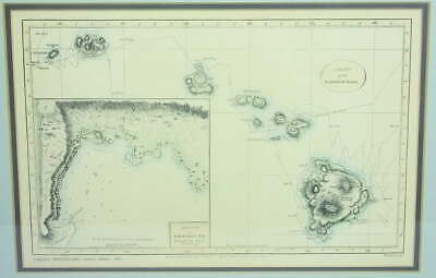 Lahaina Printsellers Chart The Sandwich Islands First Hawaii Map Frame Matted