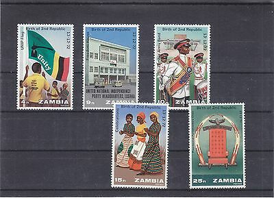 Sambia Zambia, 1 year second republic 1973, complete set MNH, 2 scans