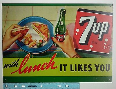 """7-UP Metal Sign """"with Lunch it likes you"""" Vintage Style Ad Soda Pop"""