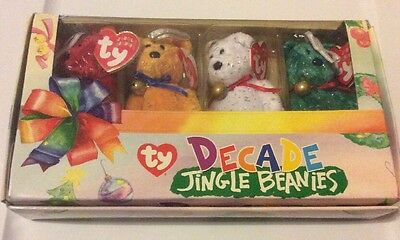 TY CLUB JINGLE BEANIES Babies SET OF 4~DECADE BEARS~WHITE RED GREEN GOLD~ New