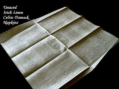 "FAB Unused IRISH LINEN Napkins 21"" Figural Celtic Scenes DOUBLE DAMASK"