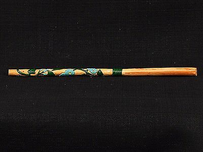Hand Carved & Painted Morning Glory Rowan Wood Wicca Earth Magic Wand