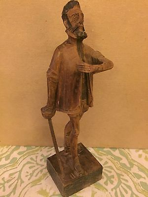 Vintage Don Quixote Wood Carved Mid Century Ouro Artesania Spain #580-0
