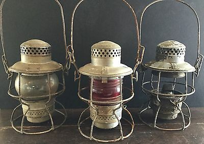 Old Vtg Antique Rr Lantern Adlake Kerosene Nycs D&h Train Red Glass Lot Of 3