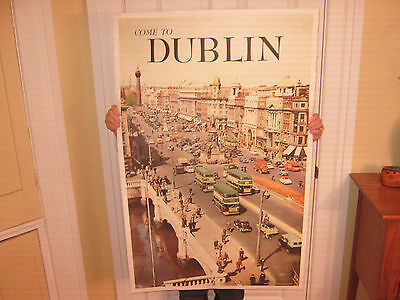 Come To Dublin (Ireland) Original Vintage 1950's Airline Travel Poster