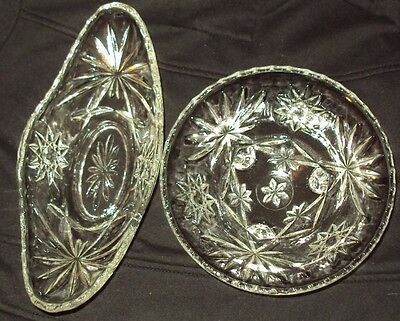 Vintage EAPC Three foot Bowl & Boat Dish - Scalloped Edge with Star of David