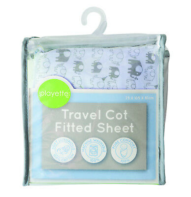 Printed Travel Cot Fitted Sheet - Blue Elephant 1353508.,>
