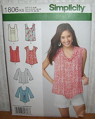 Womens/Misses Pullover Tops Sewing Pattern/Simplicity 1806/SZ 8-16/UCN
