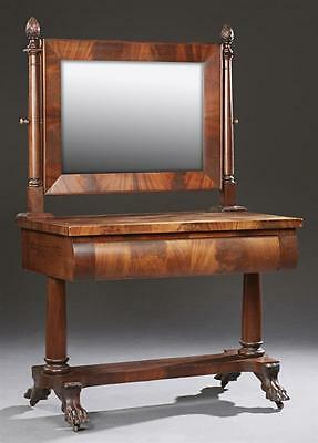American Classical Revival Carved Mahogany Dressing Table, 19th c., t... Lot 598