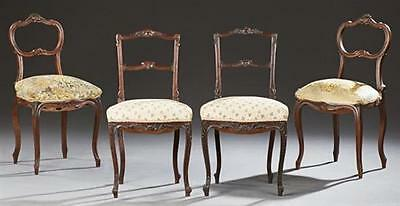 Two Pair of French Louis XV Style Carved Walnut Side Chairs, 19th c.,... Lot 700
