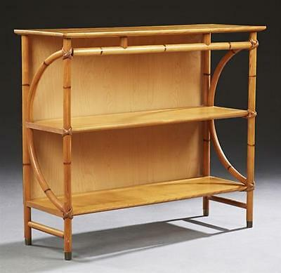 Heywood Wakefield Carved Oak Faux Bamboo Bookshelf, mid 20th c., with ... Lot 69