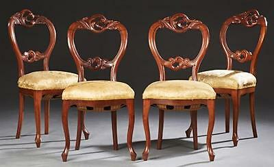 Set of Four Louis XV style Medallion Back Side Chairs, 20th c., the p... Lot 171
