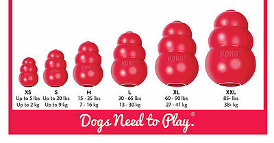 Kong Classic Red Rubber Dog Chew Toy XS Small Medium Large XL XXL