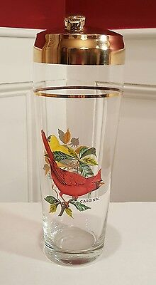 """Retro 10"""" Glass Cocktail Shaker Gold Gild Lid Cardinal And Goldfinch Birds"""