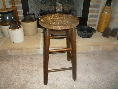 Vintage Antique Wood Stool Farmhouse Country Primitive Stool 24""