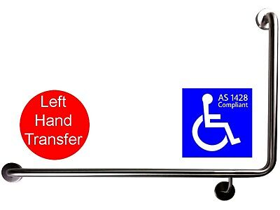 90 Degree Grab Bar Lh As1428.1 Safety Rail Disabled Toilet Wheelchair Stainless