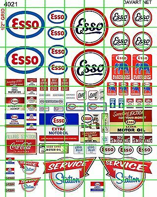 4021 Dave's Decals Ess0 Gas/oil Set Service Filling Station Signs Combined Ship