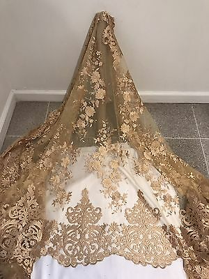 "Gold Mesh Embroidery Bridal Lace Fabric 50"" Wide 1 Yard"