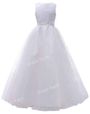 Flower Girl Princess Dress Wedding Party Birthday Pageant Bridesmaid Gown White