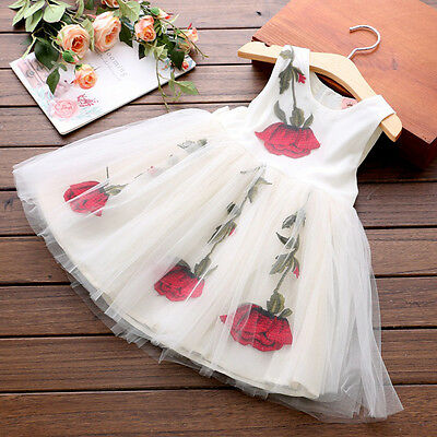 Kids Baby Girls Flower Rose Party Prom Princess Pageant Wedding Fancy Dresses
