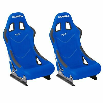 2 x Cobra Monaco Pro Blue FIA Track Race Rally Bucket Seats & Free Mounts!
