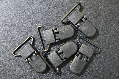 x5 Black (B5) 25mm KAM plastic dummy/soother/pacifier holder clips AUS Seller