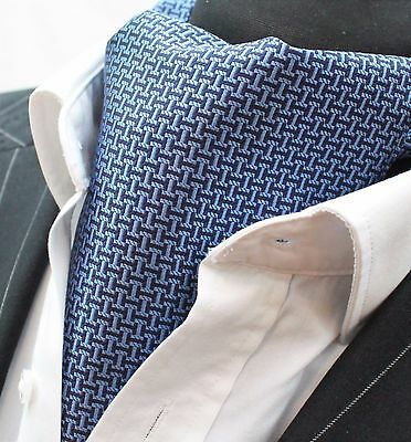 Cravat Ascot Blue & Black with matching hanky.