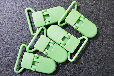 x5 Green (B14) 25mm KAM plastic dummy/soother/pacifier holder clips AUS Seller
