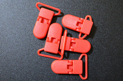 x5 Deep Red(B38) 25mm KAM plastic dummy/soother/pacifier holder clips AUS Seller