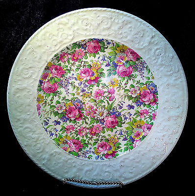 """Summertime Chintz 9"""" Plate Royal Winton MINT White Edge Pink+Yellow Flowers"""