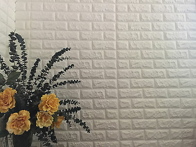 Peel and Stick 3D White Brick wallpaper Pack of 1, 2.28'x2.59'