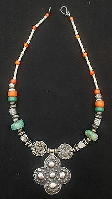 Morocco - Ancient Berber necklace, silver beads, amazonite and Ancient coins