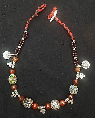 Morocco - Ancient Berber necklace, silver enameled beads, cornelian and Ancient