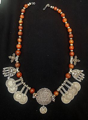 Morocco - Ancient Jewish Necklace - Tinghir High Atlas- Hebrew Fatima Hand in Si