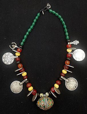 Morocco - Beautiful Berber necklace, Enameled and silver Taguemout, coins beads