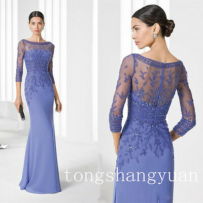 3/4 Sleeve Mother Of The Bride Dresses Wedding Party Formal Beading Gowns Custom