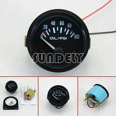 Universal Car Black Pointer Oil Pressure Gauge 0-100 PSI White LED Light 2″/52mm