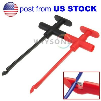 US STOCK Insulation Piercing Clip Test Probe Hook Banana Jack Spring Loaded Cop