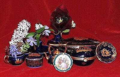 Limoges Set Of Wee Cobalt And 22K Gold The Proposal 14Pc W/trinket Box!