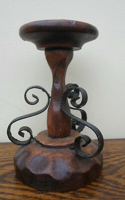 Vintage French rustic wooden candlestick, wrought iron scrolls