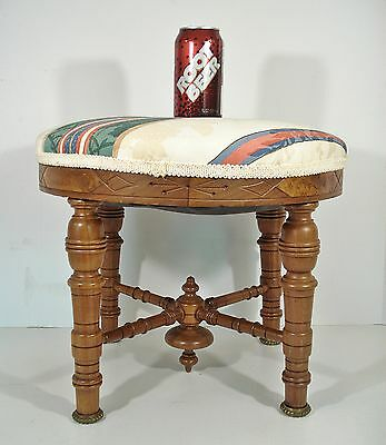 Antique Walnut Victorian Footstool Eastlake carved w/burl