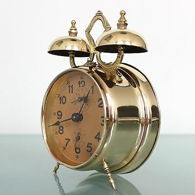 JUNGHANS Alarm SPECIAL TOP Clock Antique DOUBLE BELL Mantel 1910s Germany Mantel