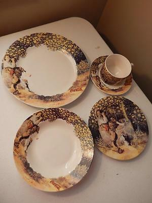 Norman Rockwell (NOS) Coca-Cola Dishes NEW 5 Piece Place Setting