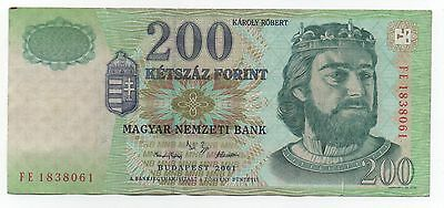 Hungary 200 Forint 2001 Pick 187 A Look Scans