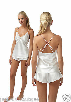 Almost White Satin Bridal Nightwear Set Matching Cami & Shorts French Knickers