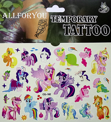 1x My Little Pony Temporary Tattoo Sheet Kids Birthday Party Bag Filler